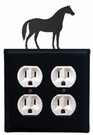 Double Outlet Cover, Horse, Wrought Iron