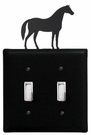 Double Switch Cover, Horse, Wrought Iron