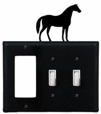 GFI and Double Switch Cover, Horse, Wrought Iron