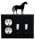 Outlet and Double Switch Cover, Horse, Wrought Iron