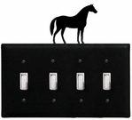 Quad Switch Cover, Horse, Wrought Iron