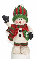 Snowman Plush Christmas Holiday Decoration, Knit Cap