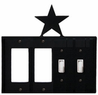 Double GFI & Double Switch Cover, Star, Wrought Iron