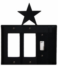 Double GFI and Switch Cover, Star, Wrought Iron