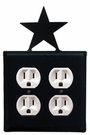 Double Outlet Cover, Star, Wrought Iron