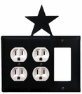 Double Outlet and GFI Cover, Star, Wrought Iron