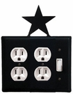 Double Outlet and Switch Cover, Star, Wrought Iron