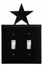 Double Switch Cover, Star, Wrought Iron