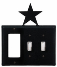 GFI and Double Switch Cover, Star, Wrought Iron
