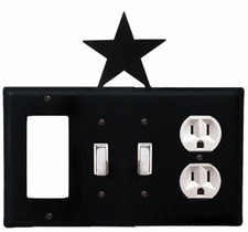 GFI, Double Switch and Outlet Cover, Star, Wrought Iron