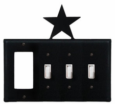 GFI and Triple Switch Cover, Star, Wrought Iron