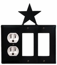 Outlet and Double GFI Cover, Star, Wrought Iron