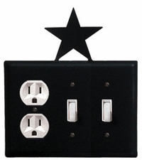 Outlet and Double Switch Cover, Star, Wrought Iron