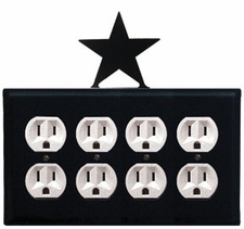 Quad Outlet Cover, Star, Wrought Iron
