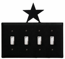Quad Switch Cover, Star, Wrought Iron