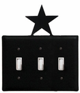 Triple Switch Cover, Star, Wrought Iron