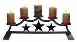 Fireplace Candle Holder, Wrought Iron, Stars