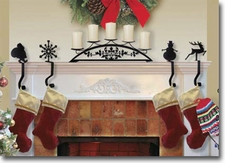 STOCKING HANGERS / MANTEL HOOKS, WROUGHT IRON