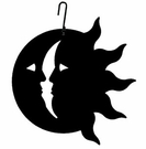 Sun / Moon Silhouette, Hanging Art, Wrought Iron