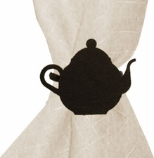 Napkin Ring, Wrought Iron, Teapot, Set of 4