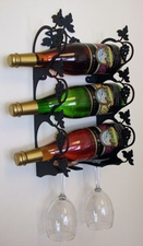 Wall Mounted Wine and Glass Rack, 3 Bottle, Wrought Iron