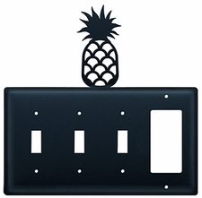 Triple Switch and GFI, Pineapple, Wrought Iron
