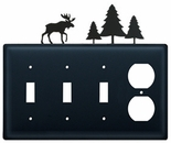 Triple Switch and Outlet, Moose & Pine Trees, Wrought Iron