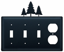 Triple Switch and Outlet, Pine Trees, Wrought Iron