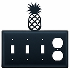 Triple Switch and Outlet, Pineapple, Wrought Iron