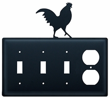 Triple Switch and Outlet, Rooster, Wrought Iron