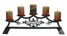 Fireplace Candle Holder, Wrought Iron, Victorian Design