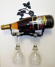 Wall Mounted Wine and Glass Rack, 1 Bottle, 2 glasses, Wrought Iron