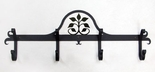 Coat Rack, Hooks, Leaf Fan, Wrought Iron, Wall Mounted
