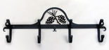 Coat Rack, Hooks, Pinecones, Wrought Iron, Wall Mounted