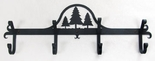 Coat Rack, Hooks, Pine Trees, Wrought Iron, Wall Mounted