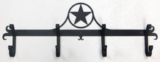 Coat Rack, Hooks, Star, Wrought Iron, Wall Mounted
