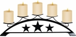 Pillar Candle Holder, Star Design, Wrought Iron