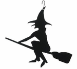 Witch & Broom Silhouette, Hanging Art, Wrought Iron