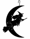 Witch & Moon Silhouette, Hanging Art, Wrought Iron