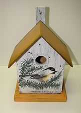 Wood Birdhouse with Metal Roof, Chickadee Design