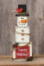 Wooden Snowman Christmas Decoration, Happy Holidays, Wood