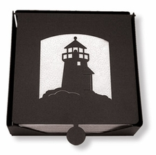 Napkin Holder, Lighthouse Silhouette, Wrought Iron, 2-Piece