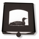 Napkin Holder, Loon, Duck Silhouette, Wrought Iron, 2-Piece