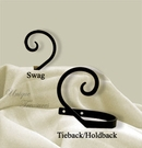 Curtain Tie-Backs, Hold-Backs, Pull Backs, Curl, Wrought Iron