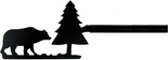 Curtain Rod, Bear & Pine Tree, Wrought Iron, 21 - 35 inch