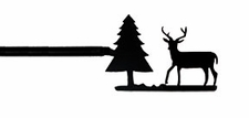 Curtain Rod, Deer & Pine Tree, Wrought Iron, 21 - 35 inch