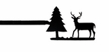 Curtain Rod, Deer & Pine Tree, Wrought Iron, 36 - 60 inch