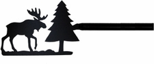 Curtain Rod, Moose & Pine Tree, Wrought Iron, 113 - 130 inch