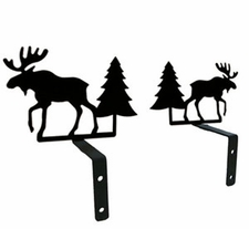 Curtain Swags, Wrought Iron, Moose & Pine Tree