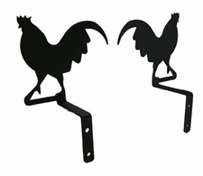 Curtain Swags, Wrought Iron, Rooster Silhouette
